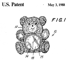 Drawing of the Stuffed Animal Clock from its patent proposal.